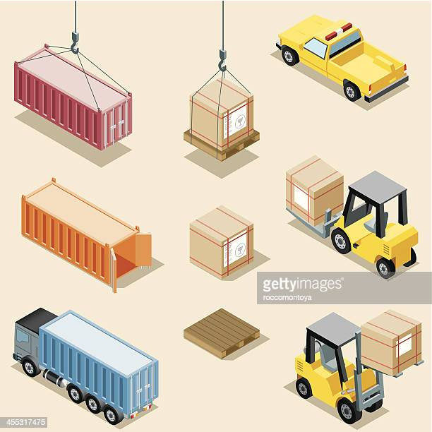 Graphic image of different stages of freight transportation