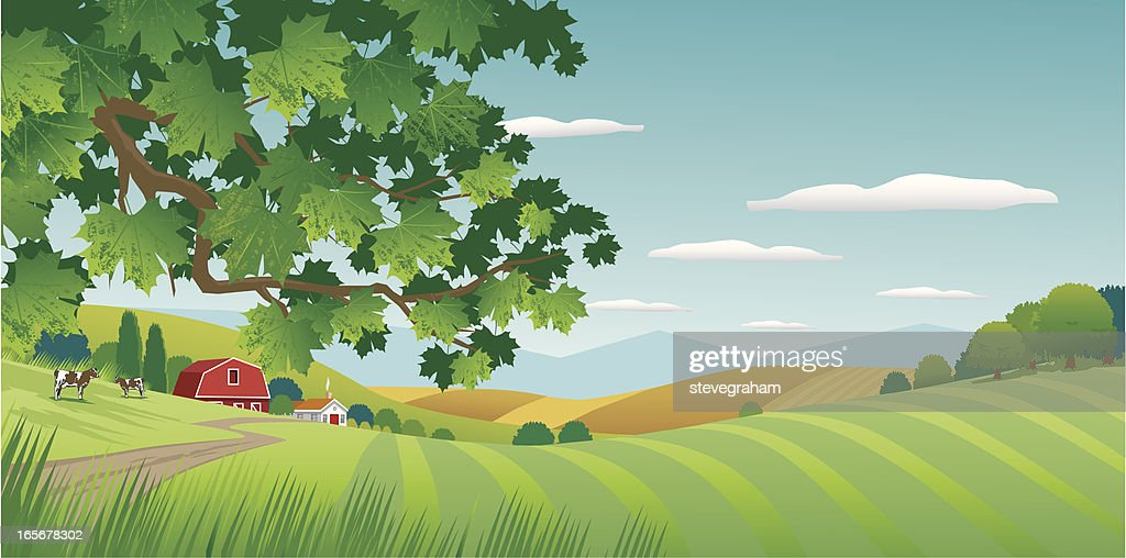 Graphic image of sunny countryside : stock illustration