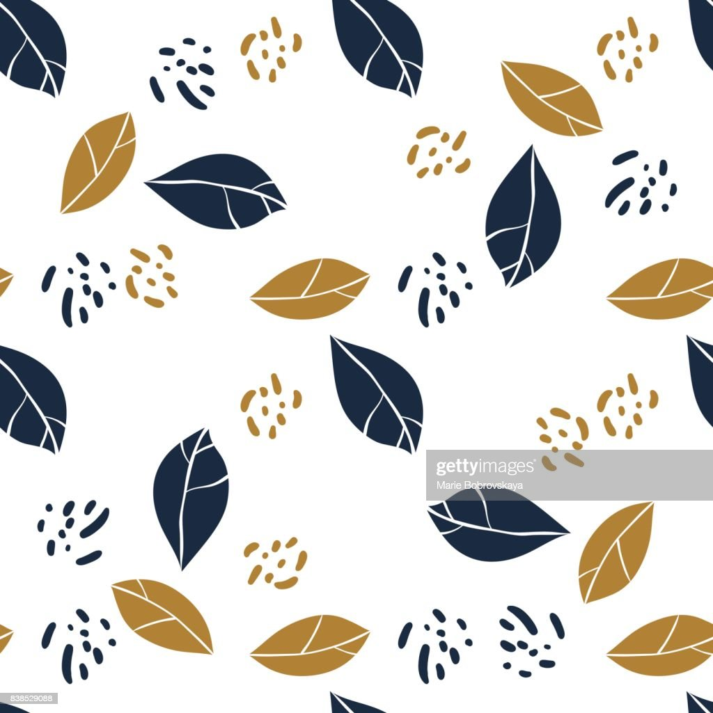 Graphic magnolia leaves and jungle spots. Vector trendy seamless pattern in deep blue and mustard colors. Textile design.