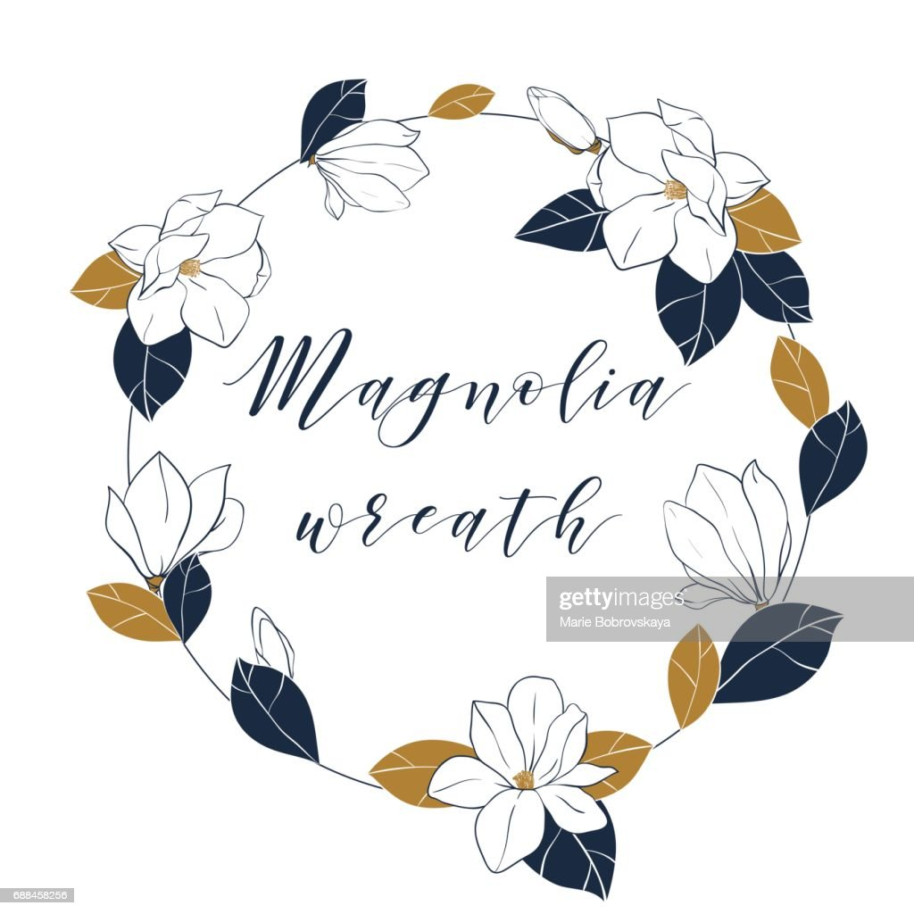 Graphic Magnolia Wreath In Deep Blue And Bronze Colors Trendy Vector