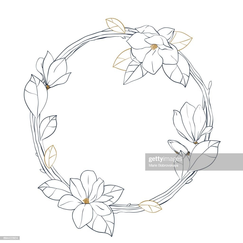 Graphic magnolia wreath.Vector floral design isolated on white background. Coloring book page design for adults and kids.