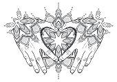 Graphic mehndi heart