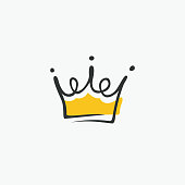 Graphic modernist element drawn by hand. royal crown of gold. Isolated on white background. Vector illustration