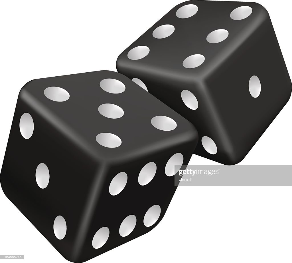 Graphic of 2 black and white dice