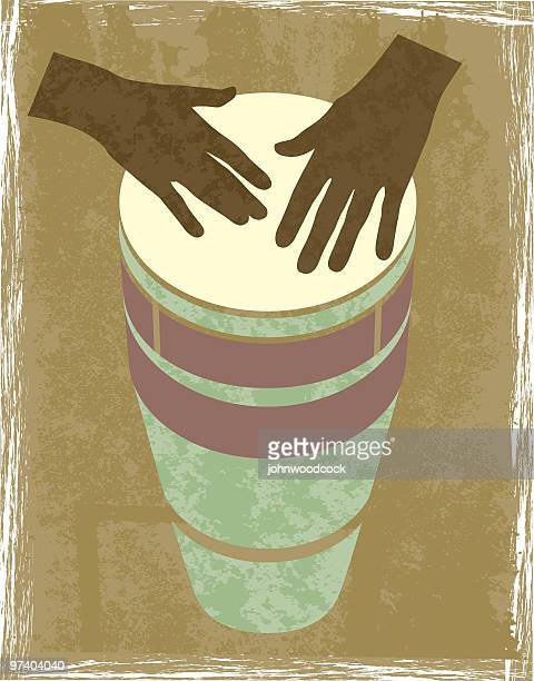 a graphic of 2 brown hands banging a drum - african ethnicity stock illustrations