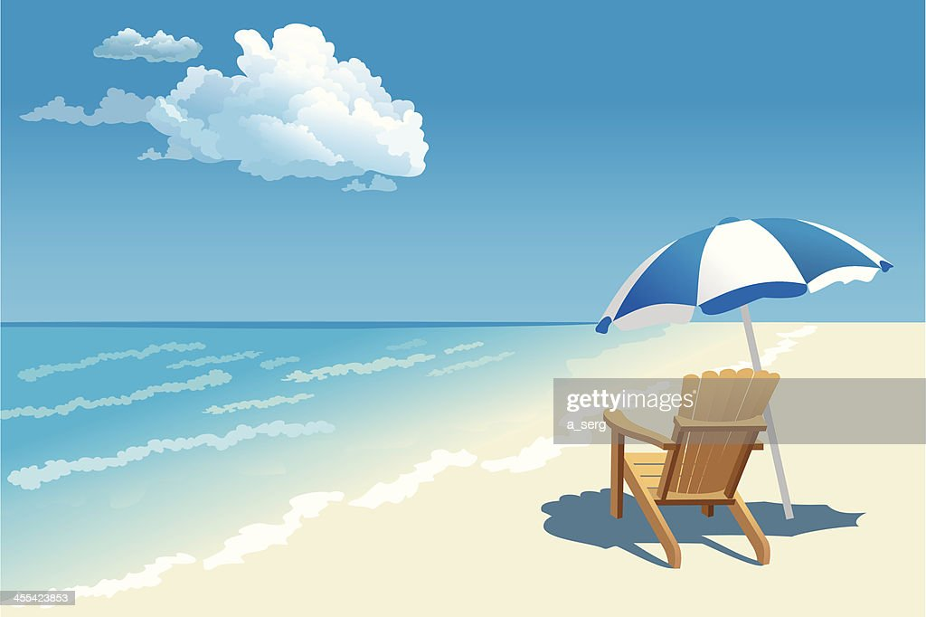 Graphic Of A Beach Scene With Wooden Chair And Parasol