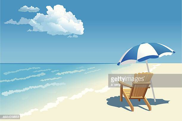 graphic of a beach scene with wooden chair and parasol - seascape stock illustrations, clip art, cartoons, & icons