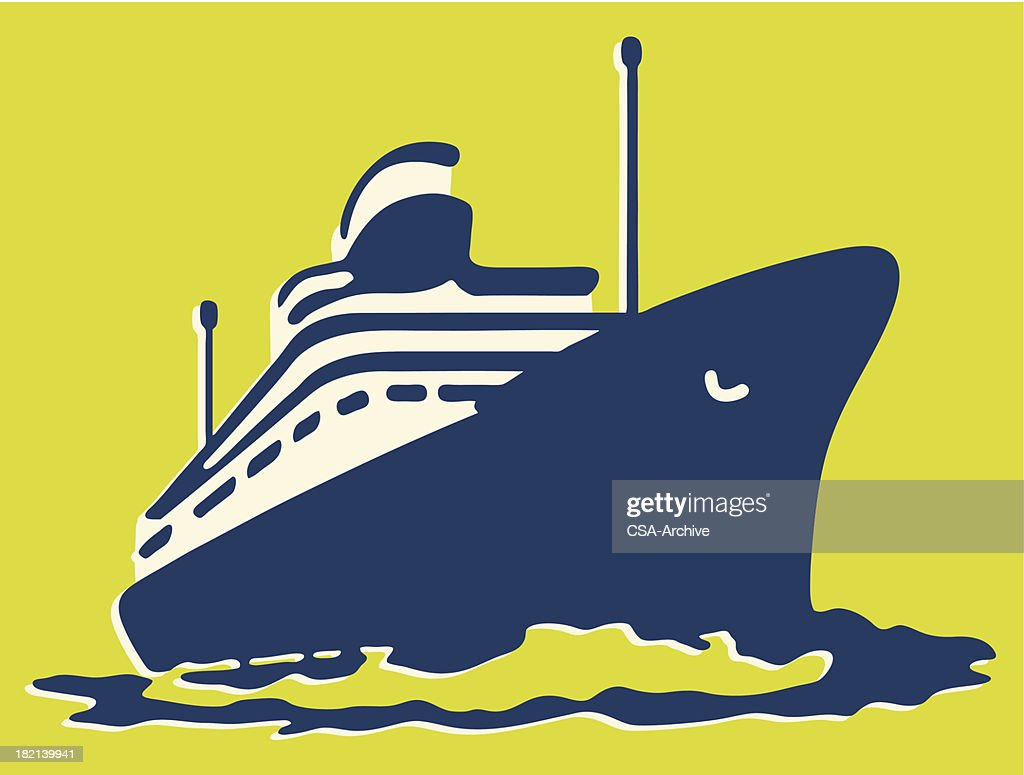Graphic of a Blue cruise ship on yellow background : stock illustration