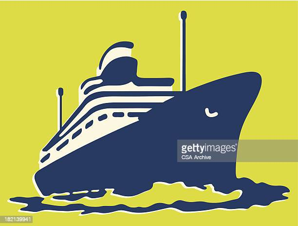 Graphic of a Blue cruise ship on yellow background