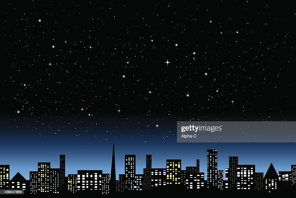 Graphic of a city a night with lit up skyscrapers