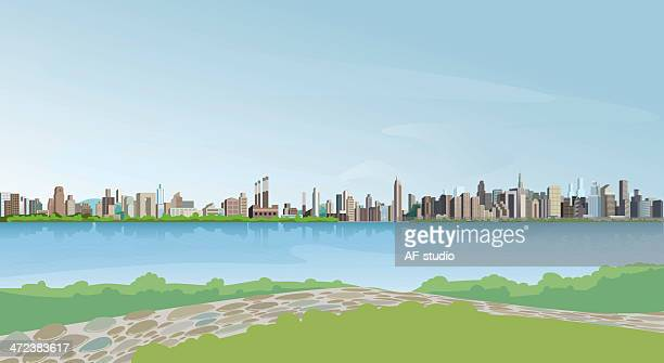 Graphic of a city skyline in front of a body of blue water
