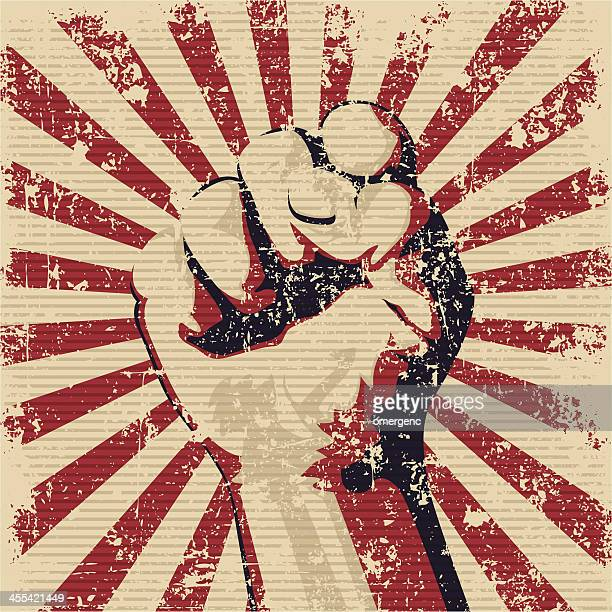 graphic of a faded red and black fist - revolution stock illustrations, clip art, cartoons, & icons