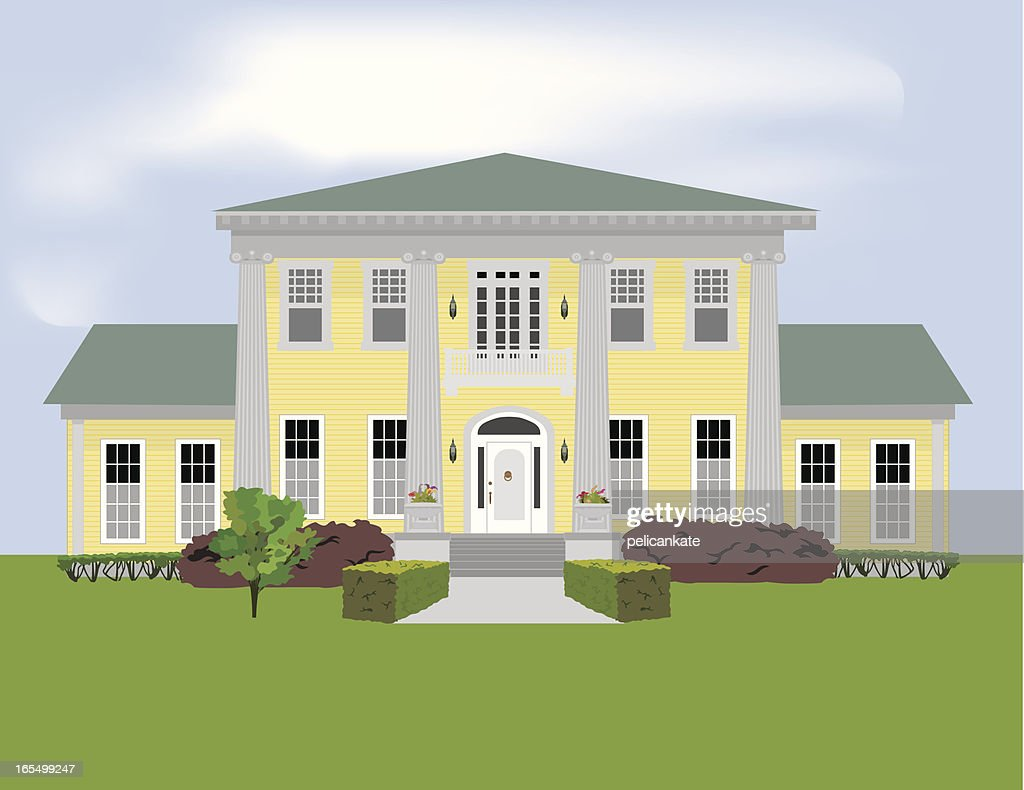 Graphic of a large stately home with a large garden