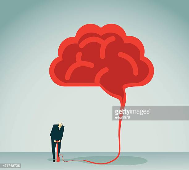 Graphic of a man inflating a red brain