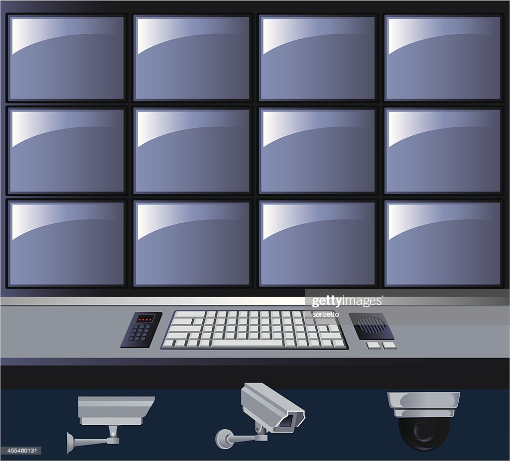 Graphic of a security control room with TV screens