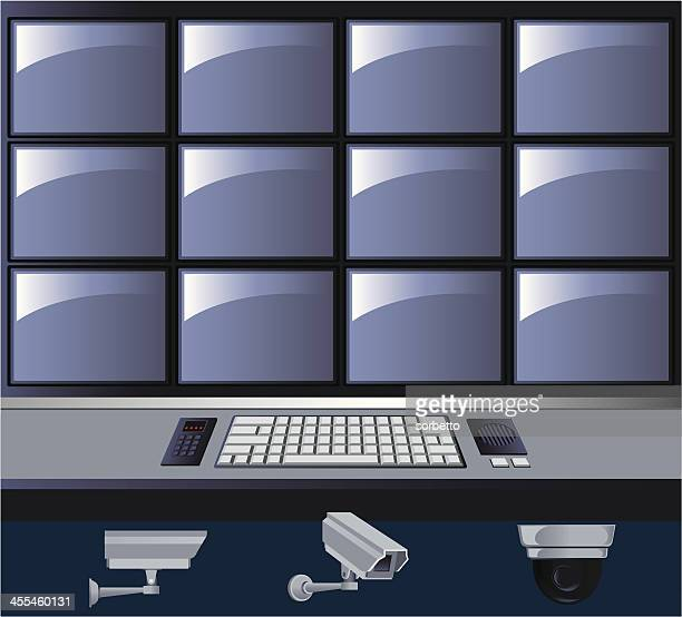 graphic of a security control room with tv screens - security camera stock illustrations