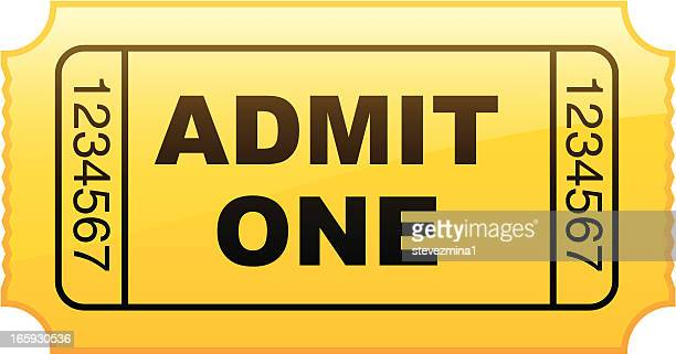 graphic of a simple yellow admit one ticket from a roll - ticket stock illustrations, clip art, cartoons, & icons