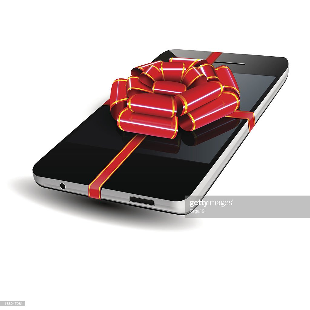 Graphic of a smartphone with a red bow on top