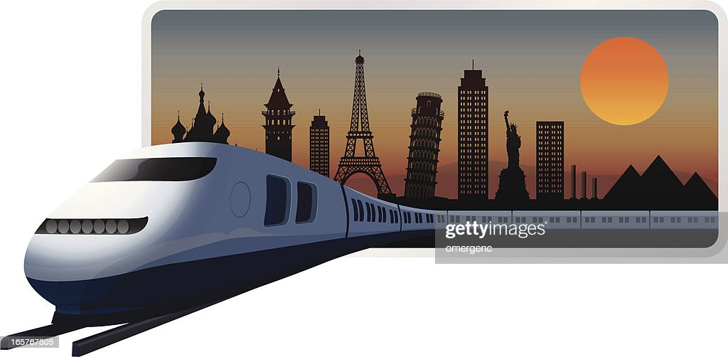 A graphic of a train leaving a city at night