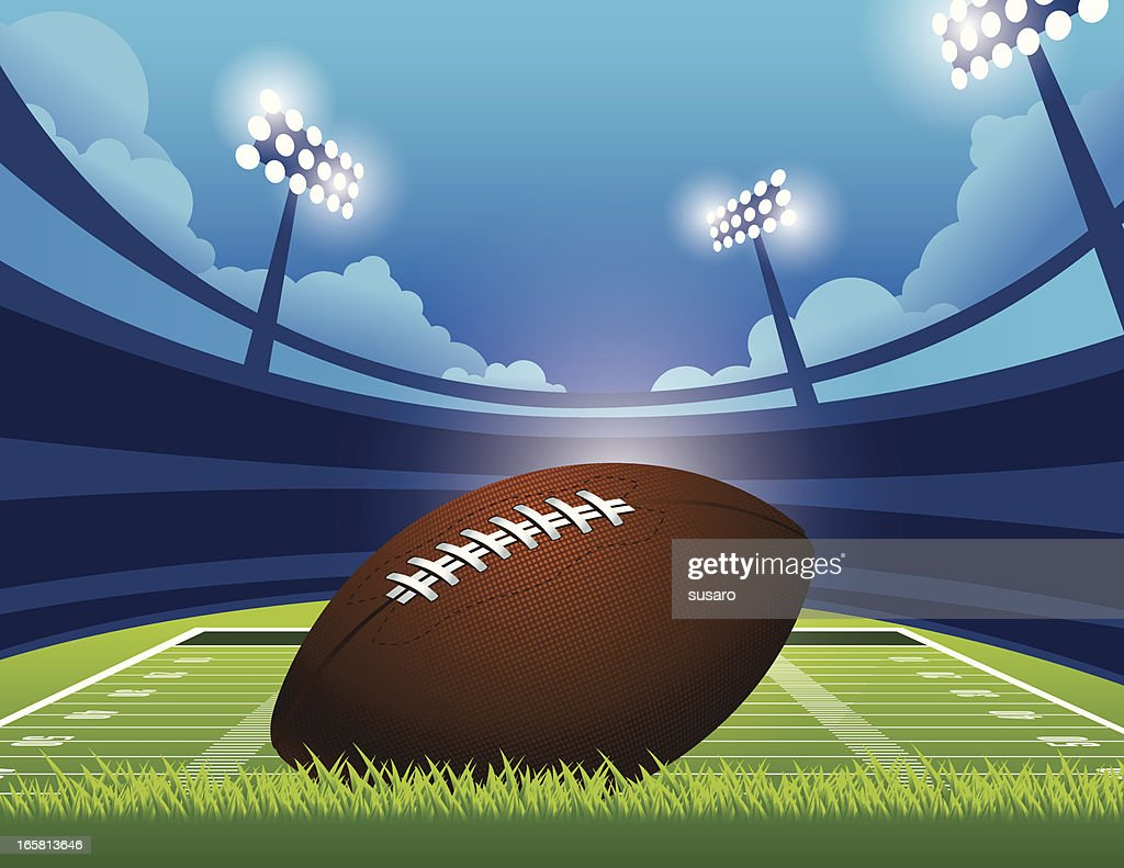 Graphic of an American football on a green stadium