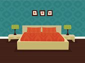 A graphic of an old style retro bedroom with lamps