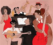 Graphic of black New Orleans style 6-person jazz band