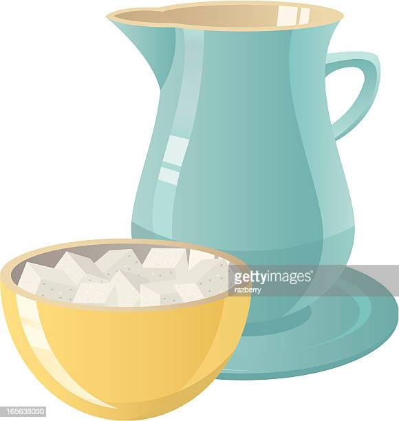 graphic of bowl of sugar and pitcher of cream - sugar cube stock illustrations, clip art, cartoons, & icons
