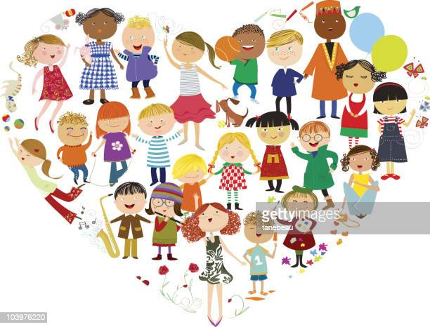 graphic of children in friendships from around the world - whole stock illustrations, clip art, cartoons, & icons