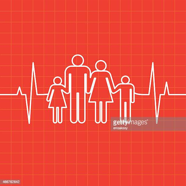 graphic of family of four and ekg readout on red background - listening to heartbeat stock illustrations, clip art, cartoons, & icons