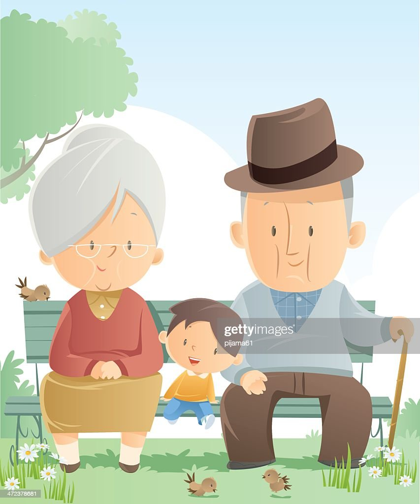 Graphic of grandparents and grandson sitting on a park bench : stock illustration
