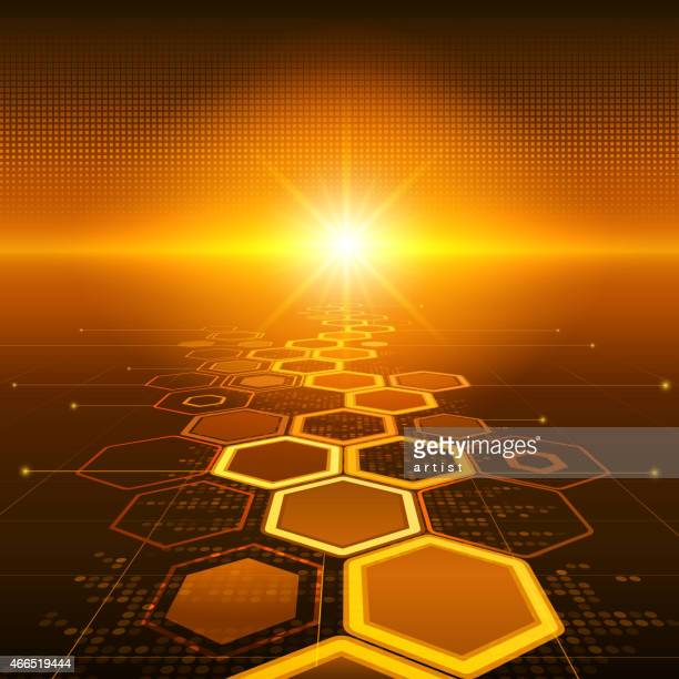 graphic of honey comb technology as a sunset - flash light stock illustrations, clip art, cartoons, & icons