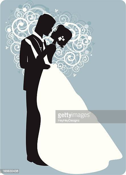 Graphic of husband and wife's first dance on blue background
