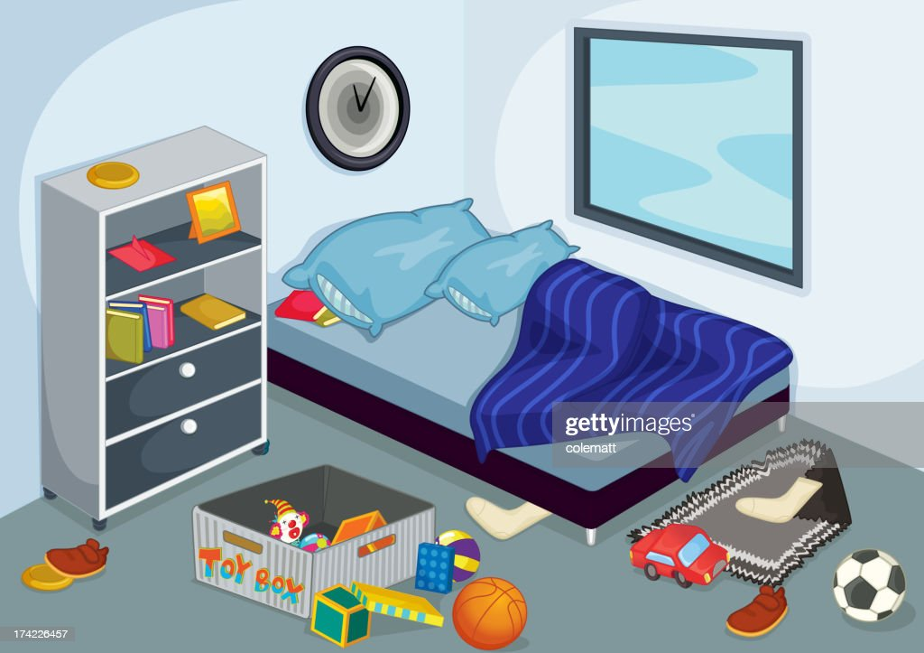 Graphic of interior of a bedroom interior during day