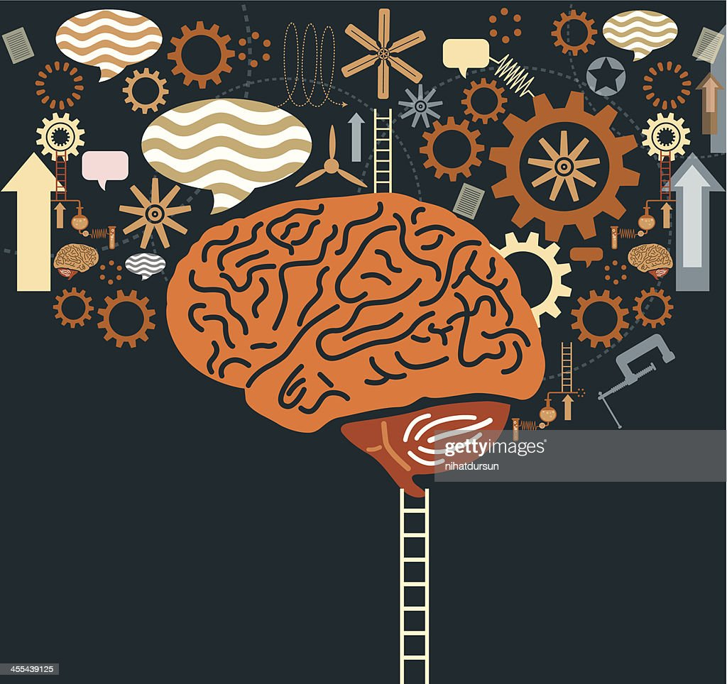 Graphic of ladder to brain with gears and speech bubbles : stock illustration