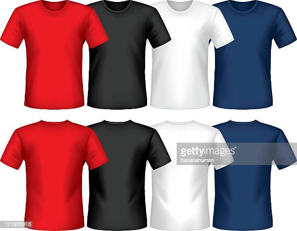 graphic of multicolored crew neck t-shirts - t shirt stock illustrations