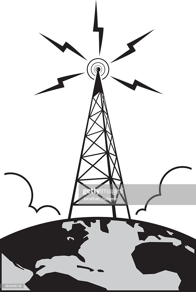 Graphic of radio tower with waves