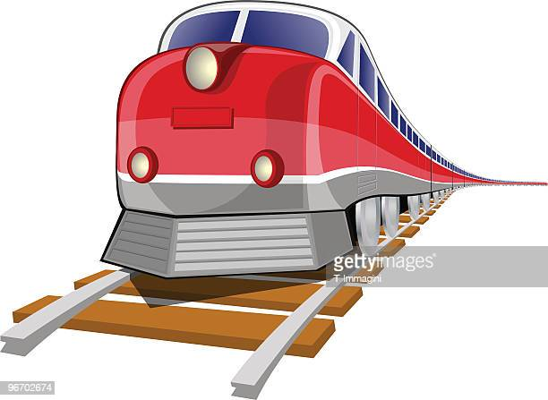 Graphic of red train on wooden tracks