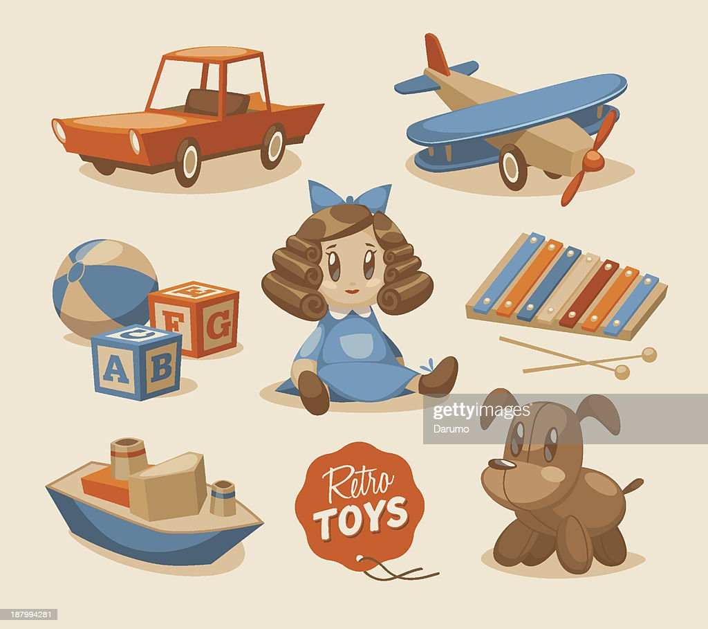 Graphic of retro children's toys and dolls
