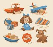 Graphic of retro children's toys and dolls