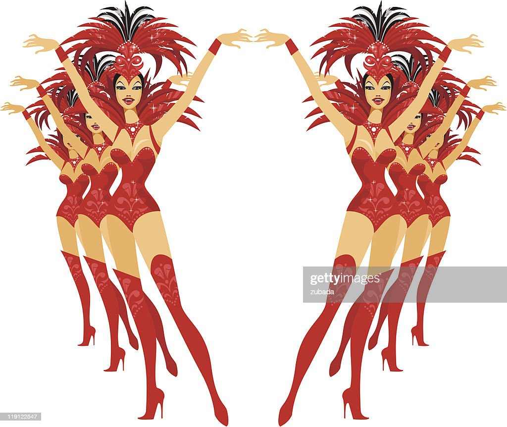 Graphic of six showgirls posing in formation