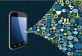 Graphic of smart phone emitting symbols of social media