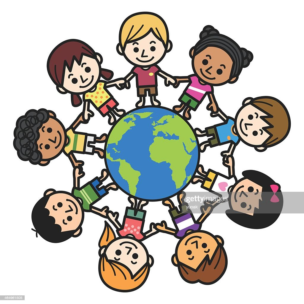 Graphic of smiling multicultural kids about the world : Stock Illustration