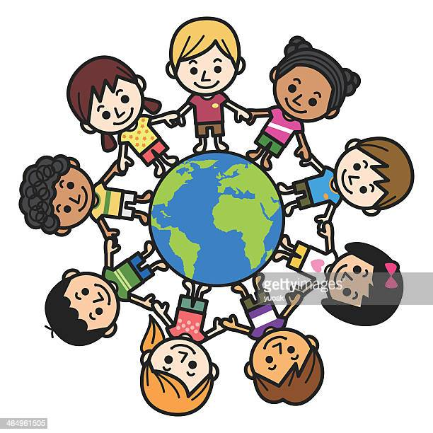Graphic of smiling multicultural kids about the world