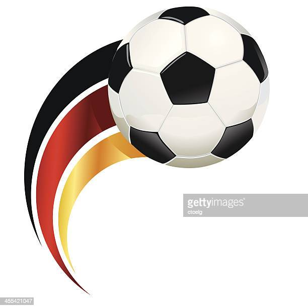 Graphic of soccer ball with abstract German flag
