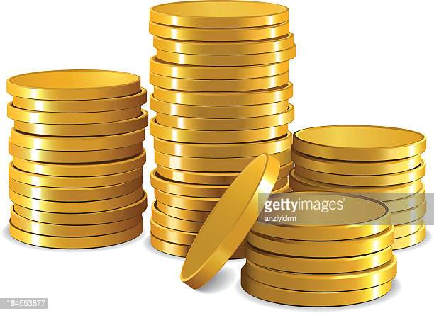 graphic of stacks of plain gold coins with white background - stacking stock illustrations