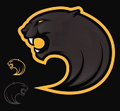 Graphic of three black and white panther logos