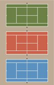 Graphic of three differently colored tennis courts