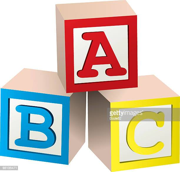 graphic of three stacked abc blocks - bloco stock illustrations
