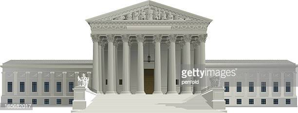 graphic of us supreme court building on white background - courthouse stock illustrations, clip art, cartoons, & icons