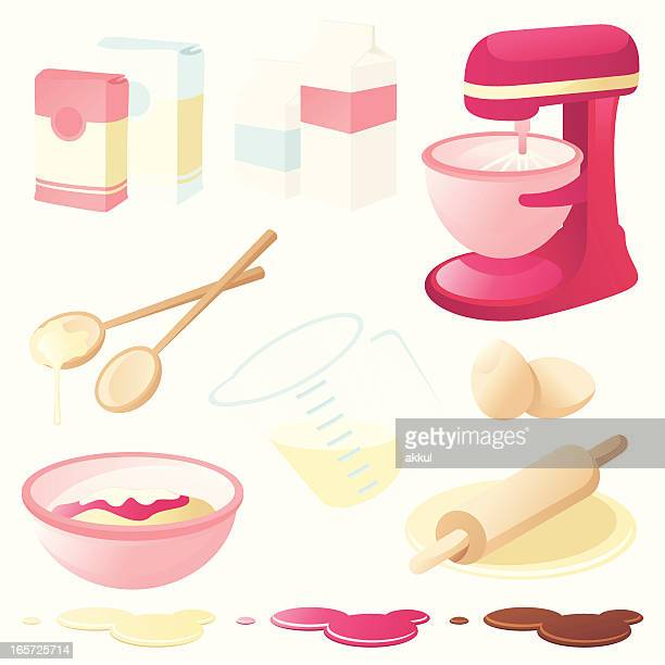 A graphic of various baking tools and ingredients